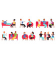 people on psychotherapy support therapy vector image vector image