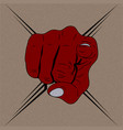 red hand drawing fist want you on brown background vector image vector image