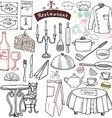 Restaurant sketch doodles set Hand drawn elements vector image
