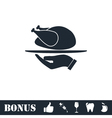 Roasted turkey icon flat vector image