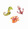 seahorse anchor anemone set of watercolor sea vector image vector image