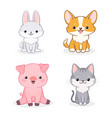 set cute animal isolated on white background vector image