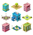 Set of the Isometric City Buildings and Shops vector image vector image