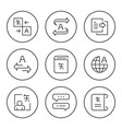 set round line icons translation vector image vector image