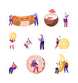 set tiny male and female characters interacting vector image