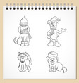 sketchbook collection puppies vector image