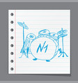 sketches drum kit vector image