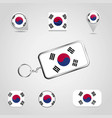 south korea country flag on keychain and map pin vector image