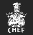 vintage smiling chef logotype vector image vector image
