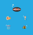flat icon marine set of seafood scallop medusa vector image