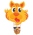 A tiger balloon with a basket full of kids vector image vector image