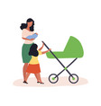 a woman walking with child in her arms vector image vector image