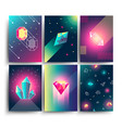abstract trendy cosmic posters with crystal vector image vector image