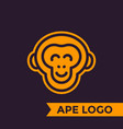 ape chimp logo element linear style vector image