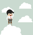 businessman climbing up a ladder to above clou vector image