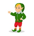 cartoon christmas elf stands with hands vector image vector image
