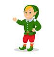 cartoon christmas elf stands with hands vector image vector image
