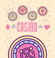 casino roulete machine chips aces cartoon style vector image vector image