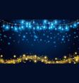 christmas fairy lights on dark blue background vector image vector image
