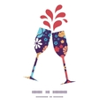 colorful bouquet flowers toasting wine glasses vector image vector image