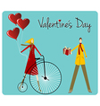 Couple with retro bike Valentines day greeting vector image vector image