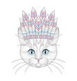 cute cat portrait with war bonnet on head vector image