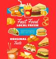 fast food menu snacks vector image vector image