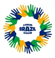 Fifteen hand print logo using Brazil flag colors vector image vector image