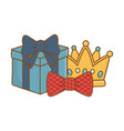 gift box with crown and bow tie vector image vector image