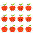kawaii red apple cute emoticon face on a white vector image vector image
