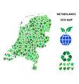 leaf green collage netherlands map vector image vector image