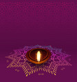lovely diwali diya with rangoli design vector image