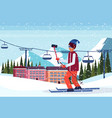 man taking selfie ski resort hotel houses vector image