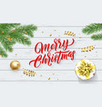 merry christmas or xmas gold stars decoration vector image vector image