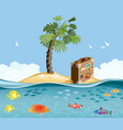 paradise island with fish and tropical palm vector image vector image