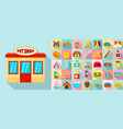 pet store icon set flat style vector image