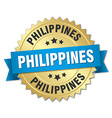 Philippines round golden badge with blue ribbon vector image vector image
