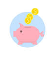 piggy bank with falling coins isolated on white vector image vector image
