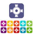 pipe fitting icons set flat vector image vector image