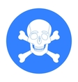 Pirate skull and crossbones icon in black style vector image vector image