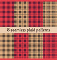 plaid and buffalo check patterns red black beige vector image
