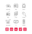 radio tv remote and video camera icons vector image vector image