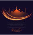 ramadan kareem glowing lights greeting design vector image