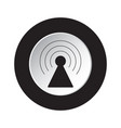 round black white button - transmitter tower icon vector image