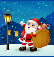 santa claus carrying sack full of gifts with snowf vector image vector image