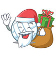 santa with gift volley ball character cartoon vector image vector image