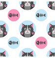 seamless pattern with cat and fish bone vector image vector image