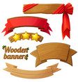 set light wooden banners 2 vector image