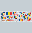 set national flag romania in vector image