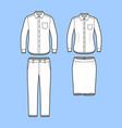 set of a blazer pants and skirt vector image vector image